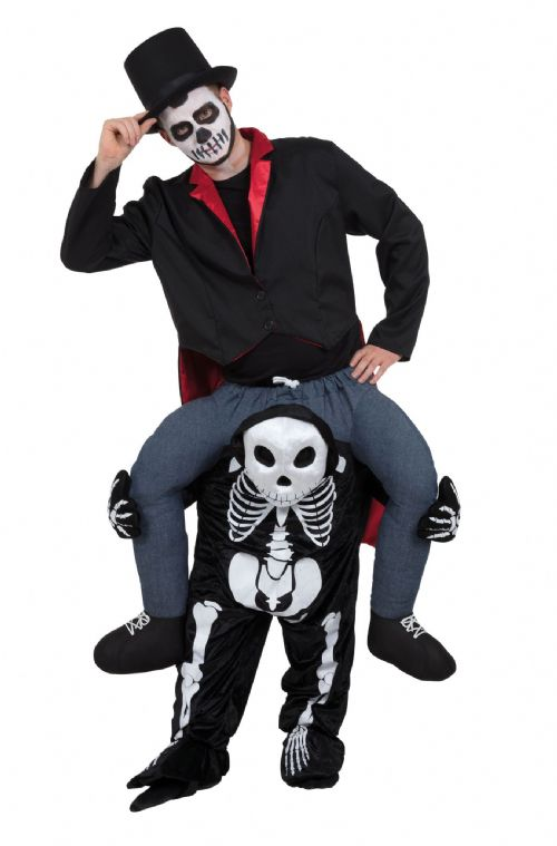 Adults Skeleton Piggy Back Costume Day of the Dead Halloween Fancy Dress Outfit